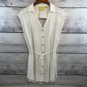Anthropologie Maeve White Open Back Tunic Top 14